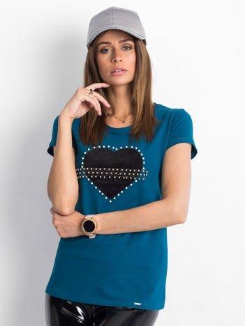 Morski t-shirt z aksamitnym sercem i perełkami