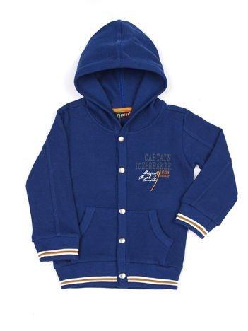 Niebieska bawełniana bluza dziecięca z kapturem i napami