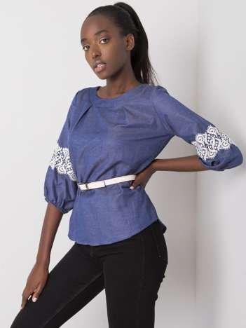 Niebieska bawełniana bluzka z paskiem Yaretzi