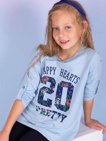 Niebieska bluzka dziewczęca z kwiatowym printem