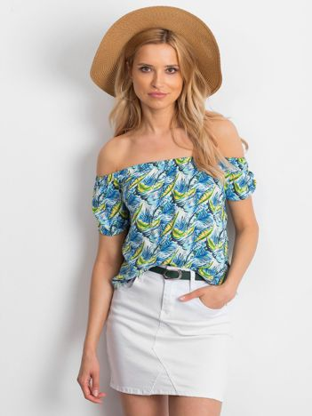 Niebieska bluzka hiszpanka w kolorowe desenie