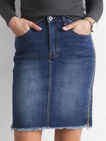 Niebieska denimowa spódnica z suwakami
