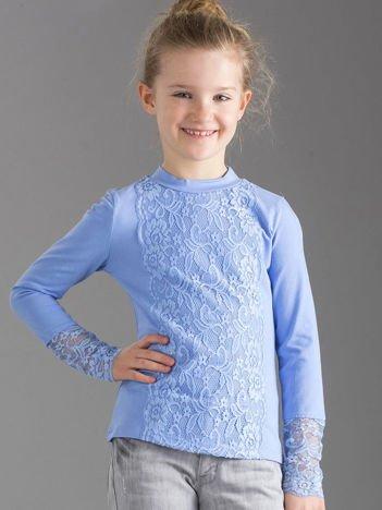 Niebieska elegancka bluzka dziewczęca z koronką