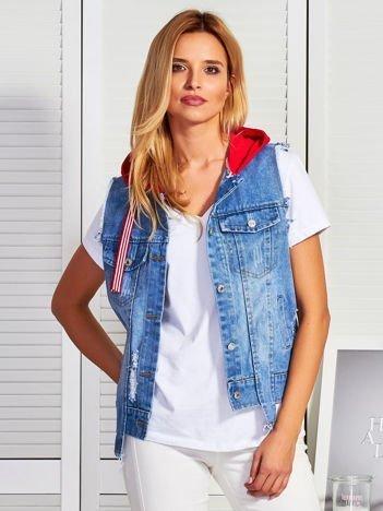 Niebieska jeansowa kamizelka z kapturem