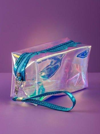 Niebieska kosmetyczka hologramowa