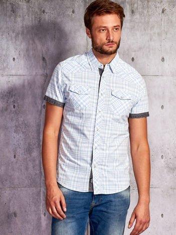 Niebieska koszula męska motyw kratki FUNK N SOUL