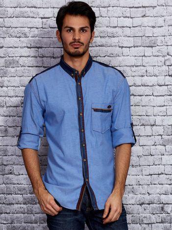 Niebieska koszula męska z jeansowym kołnierzykiem