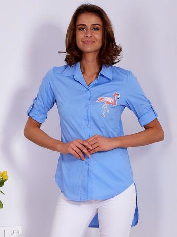 Niebieska koszula z naszywką flaminga