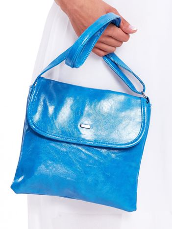 Niebieska miękka torebka ze skóry ekologicznej