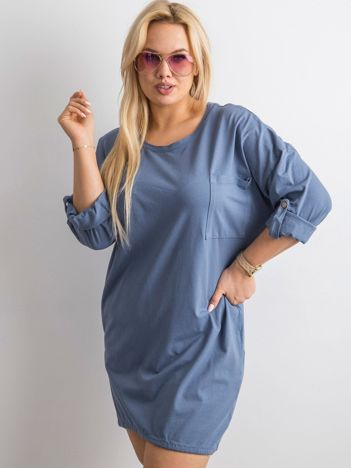 Niebieska sukienka z bawełny