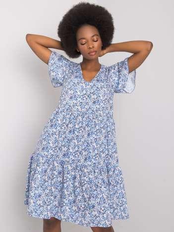 Niebieska sukienka z falbaną Genevieve RUE PARIS