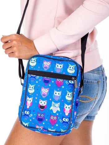 Niebieska torba listonoszka w sowy