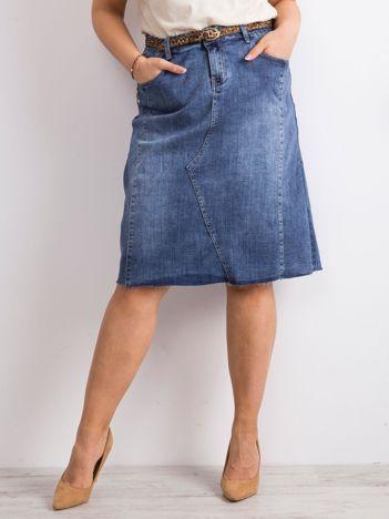 Niebieska trapezowa jeansowa spódnica PLUS SIZE
