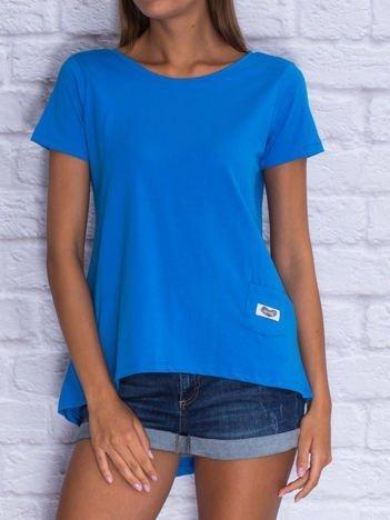 Niebieski asymetryczny t-shirt