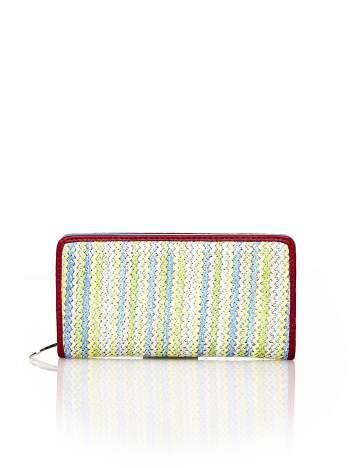 Niebieski pleciony portfel w pionowe pastelowe paski