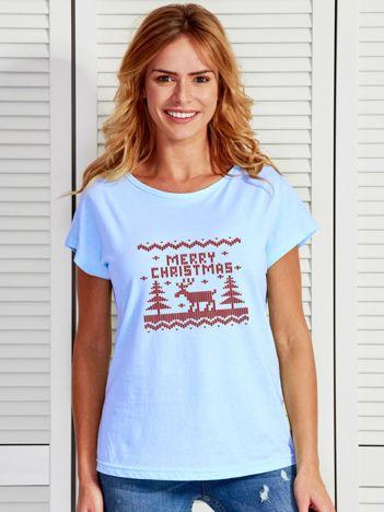 Niebieski t-shirt świąteczny z reniferem MERRY CHRISTMAS