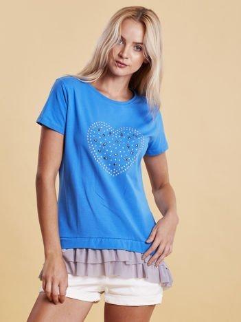 Niebieski t-shirt z błyszczącą aplikacją i tiulową wstawką