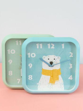 Niebieski zegar na ścianę z motywem zwierzęcym