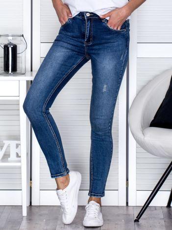 Niebieskie jeansowe rurki high waist