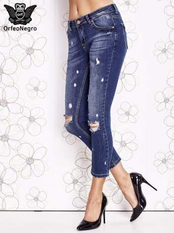 Niebieskie spodnie trash jeans z cieniowaniem