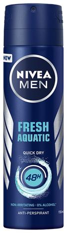"Nivea Dezodorant Fresh Aquatic 48h spray męski 150ml"""