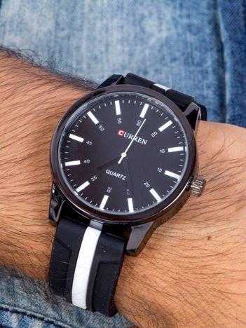 Nowoczesny i duży męski zegarek z czarną tarczą ,Pasek JELLY biało-czarny