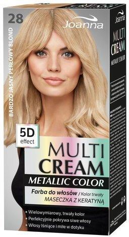 Nowość! JOANNA MULTI CREAM Metallic COLOR Farba 28 Bardzo jasny perłowy blond