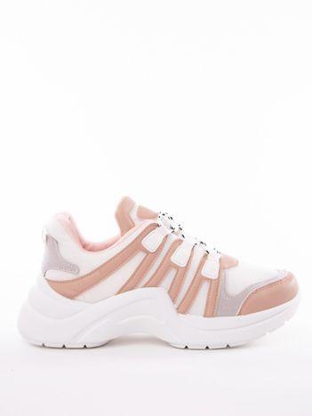 Nude buty sportowe z elastyczną podeszwą  wstawkami z ekoskóry i kolorowymi sznurówkami