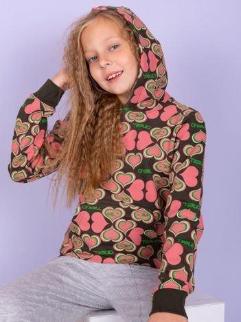 O'NEILL Różowa bluza dla dziewczynki w serduszka