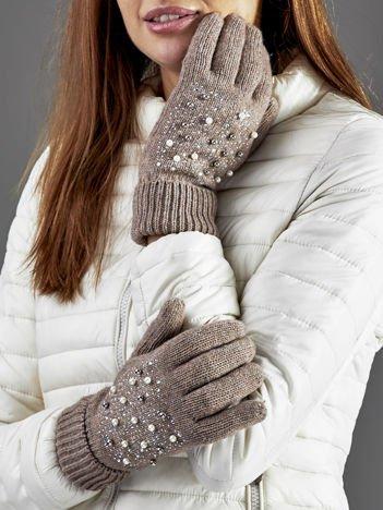 Ocieplane rękawiczki pięciopalczaste z perełkami ciemnobeżowe