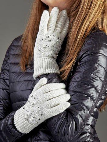 Ocieplane rękawiczki pięciopalczaste z perełkami ecru