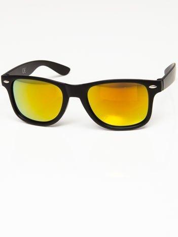 Okulary przeciwsłoneczne w stylu NERDY czarne lustrzanki żółto-złoto-pomarańczowe