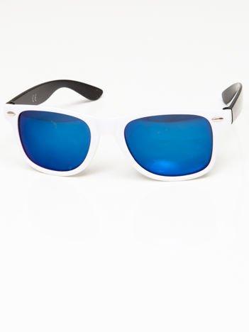 Okulary przeciwsłoneczne w stylu WAYFARER biało-czarne lustrzanki błękitne