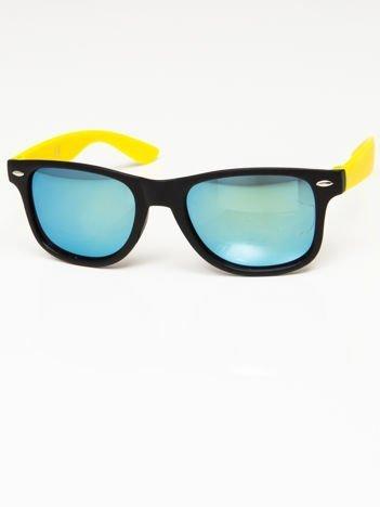 Okulary przeciwsłoneczne w stylu WAYFARER czarno-żółte lustrzanki morskie