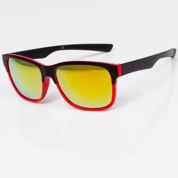 Okulary przeciwsłoneczne w stylu WAYFARER czerwono-czarne szkło lustrzanka żółte