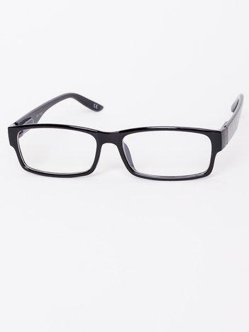 Okulary zerówki z antyrefleksem czarne błyszczące ramki z wygodnym systemem flex na zausznikach