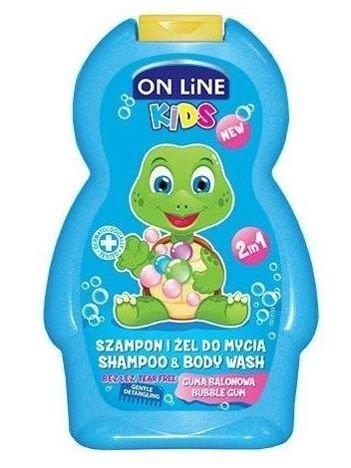 On Line Kids Szampon i żel do mycia ciała 2 w 1  Guma Balonowa  250 ml