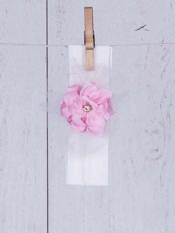 Opaska wizytowa dziewczęca z tiulowym kwiatkiem ecru