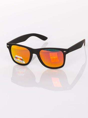 POLARYZACJA Czarne matowe okulary przeciwsłoneczne WAYFARER NERD LUSTRZANKA
