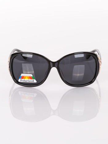 """POLARYZACJA Duże czarne eleganckie okulary przeciwsłoneczne """"MUCHY""""+GRATISY ( etui ,ściereczka)"""