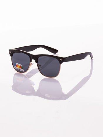 POLARYZACYJNE Czarno-złote okulary przeciwsłoneczne typu CLUBMASTER