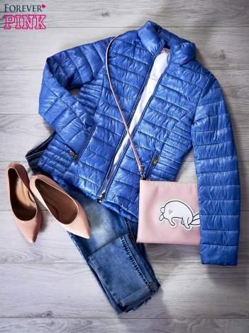 Pikowana kurtka przejściowa niebieska