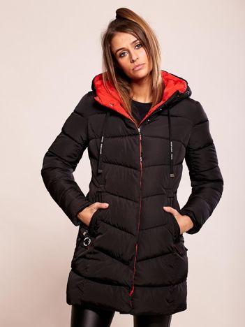 Pikowana kurtka zimowa z kapturem czarna