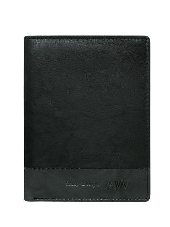Pionowy portfel męski bez zapięcia czarny