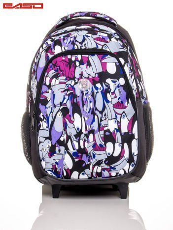 Plecak szkolny na kółkach z nadrukiem tukanów