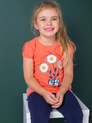 Pomarańczowa bluzka dla dziewczynki w kwiaty