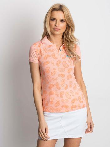 Pomarańczowa koszulka polo z motywem paisley