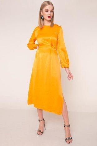 Pomarańczowa sukienka midi BSL