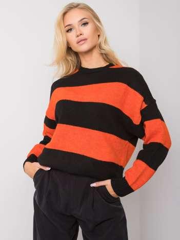 Pomarańczowo-czarny sweter w paski Nine