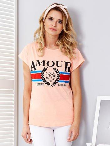 Pomarańczowy t-shirt Amour